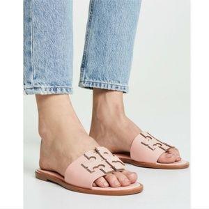 New Tory Burch Blush Pink Logo Slide Sandals 9.5